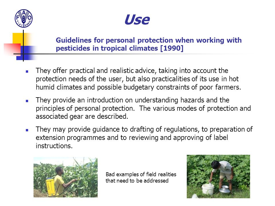 Use Guidelines for personal protection when working with pesticides in tropical climates [1990]